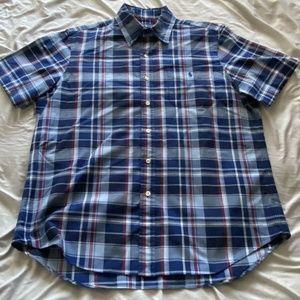 Ralph Lauren Mens Shirt L 100% Cotton Blue Red